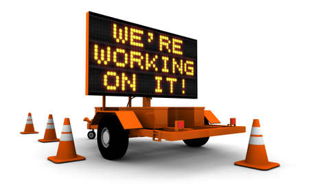 """High resolution 3D render of construction sign message board and cones. """"We"""