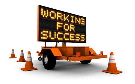 工事看板のメッセージとコーンの高解像度 3 D のレンダリング。成功のために働く。
