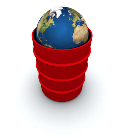 High resolution raytraced 3D render of Earth inside a 55 gallon drum. Created using public domain maps from the USGS.