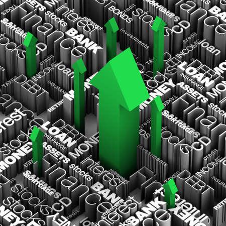 Financiële woorden en termen met een aantal rode pijlen schieten omhoog door. 3D illustratie.