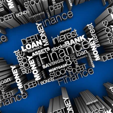 Finanzielle Wörter 3D Standard-Bild - 11578865