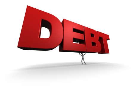 3D übertragen von Schaufensterpuppe lifing das Wort Schulden. Standard-Bild - 11578806