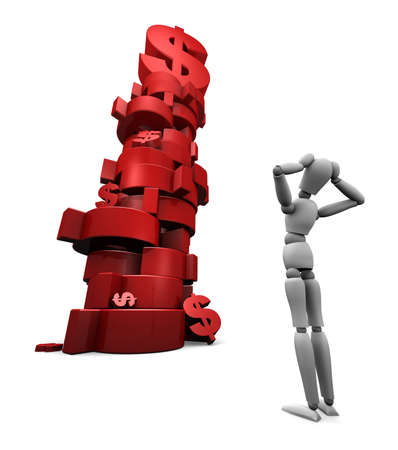 alternate: Alternate angle - 3D render of dumbfounded mannequin standing in front of a stack of red $ dollar symbols.