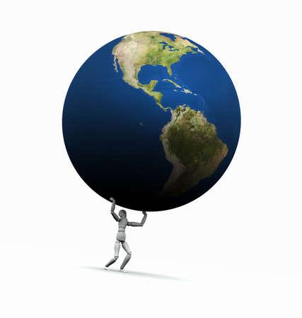 Hoge resolutie raytraced 3D render van de Aarde wereld te worden opgeheven door een etalagepop. Dit is de Amerikaanse versie.