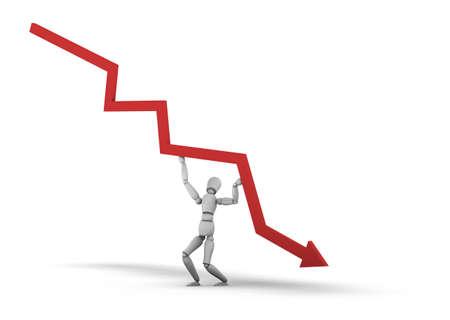 Person Lifting Line Graph 3D-Darstellung auf weißem Hintergrund. Standard-Bild - 11578807