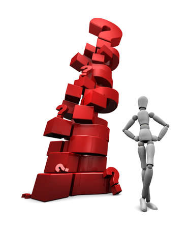 3D render of mannequin standing near a stack of red question marks.  photo
