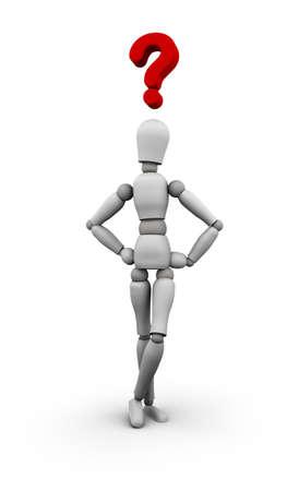 3D übertragen von Schaufensterpuppe mit roten Fragezeichen über dem Kopf. Standard-Bild - 11578810
