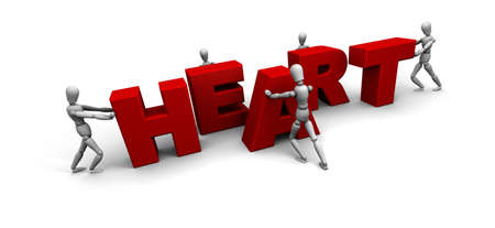 Five 3D mannequins pushing together letters to form the word HEART in red.  Stock Photo