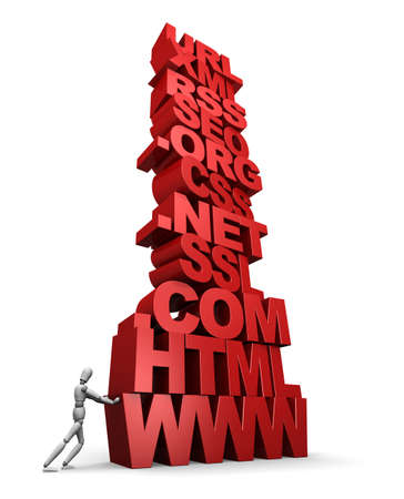3D illustration of a mannequin pushing a tall stack of web  internet terms. - 3D illustration isolated on white background. Stock Photo
