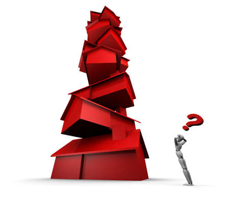 satire: Super high resolution 3D illustration of mannequin staring at tall stack of red houses with question mark overhead.  Stock Photo