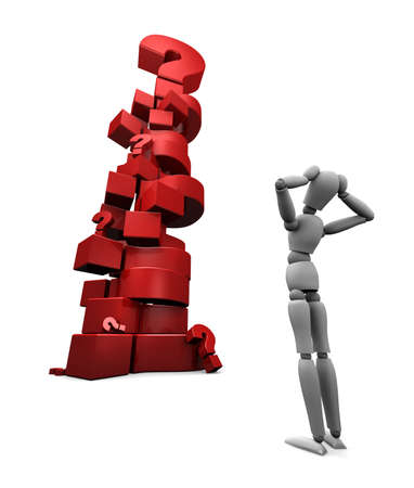 3D render of dumbfounded mannequin standing in front of a stack of red question marks.  photo