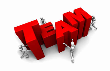 Four 3D mannequins Pushing Together letters to form the Word TEAM in red.