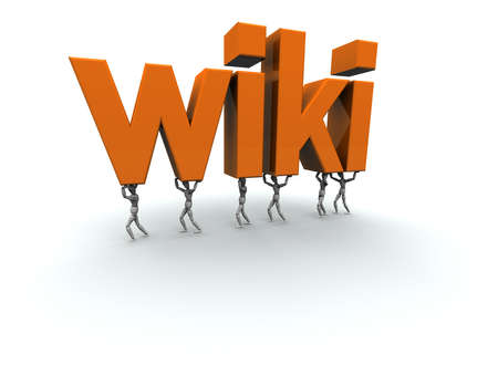 wiki: 3D mannequins carrying the word wiki in orange.