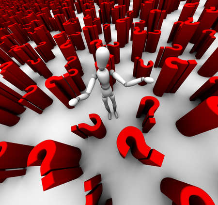 3D render of mannequin standing in a sea of red ? question marks. Stock Photo - 11578859