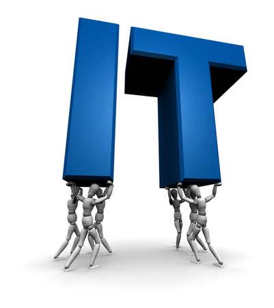 tecnologia informacion: Equipo de elevaci�n de personas de TI (Tecnolog�a de la Informaci�n) en 3D. Aislado sobre fondo blanco.