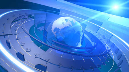 High resolution 3D render of Earth globe with abstract shapes rotating around, communication links streaming in various orbits, lens flare in the background  Cool high-tech background design image