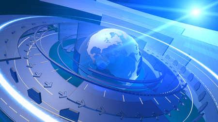 Hoge resolutie 3D render van Earth wereldbol met abstracte vormen roteren rond, communicatieverbindingen streaming in verschillende banen, lens flare op de achtergrond Cool high-tech achtergrond ontwerp beeld Redactioneel
