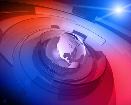 High resolution 3D render of Earth globe with abstract shapes rotating around and lens flare in the background  Editorial