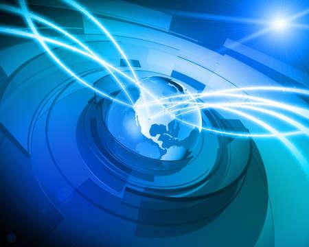 Haute r�solution 3D render de globe terrestre avec des formes abstraites en rotation autour, des liens de communication en continu � partir des lieux diff�rents dans le Etats-Unis, lens flare en arri�re-plan