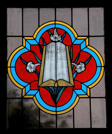 Holy Bible in colorful Stained Glass