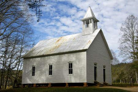 church steeple: Cades Cove - Chiesa Metodista Archivio Fotografico