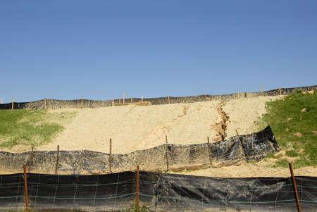 Erosie Control op een bouwplaats Stockfoto