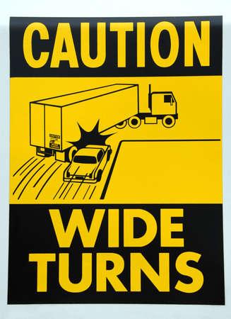 Large Truck Caution Wide Turns Decal  版權商用圖片