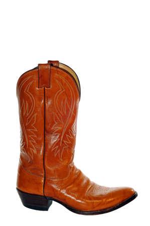 Leren Cowboy Boot op wit wordt geïsoleerd