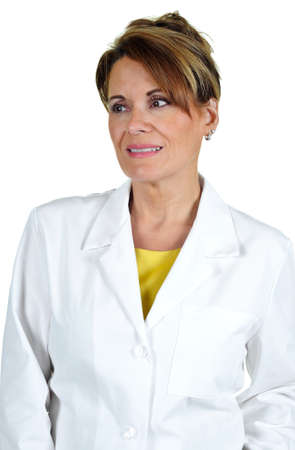 Aantrekkelijke Vrouw dragen van een laboratoriumjas Stockfoto