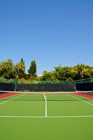 New Tennis Court with Privacy Fence Stock Photo