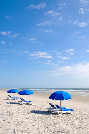 Row of Beach Chairs with Blue Umbrella on the Beach
