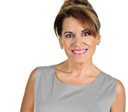 Attractive Mature Woman wearing a Grey Dress Standard-Bild