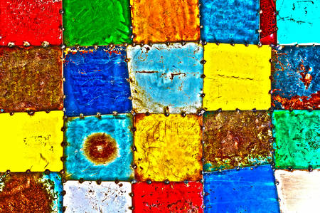 High Definition Abstract Background of Multicolored Painted Metal Squares Welded Together