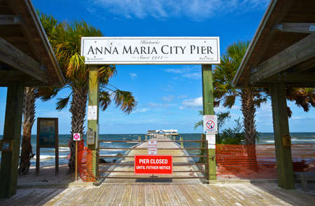 ANNA MARIA, FL - October 2,  2017: Anna Maria Historic Pier is closed after being extensively damaged by Hurricane Irma. Editorial