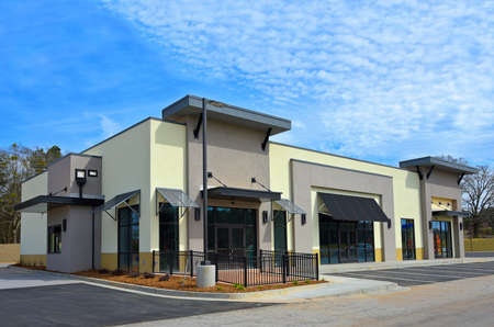 New Commercial Building with Retail, Restaurant and Office Space available for sale or lease Stock Photo
