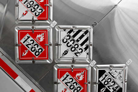 DOT Placards Displayed on the Rear of a Fuel Tanker