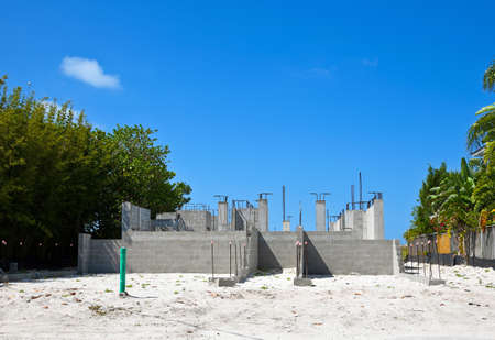 Foundation Being Constructed for a Large New Beach House
