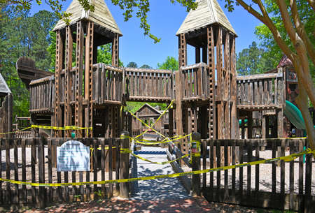 Empty Playgound closed due to Social Distancing During Covid-19 Pandemic in the United States of America 版權商用圖片
