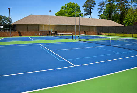 Empty Tennis Courts closed due to Social Distancing During Covid-19 Pandemic in the United States of America Stock Photo