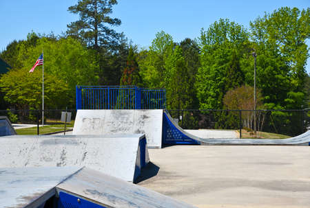 Empty Skateboard Park closed due to Social Distancing During the Covid-19 Pandemic in the United States of America