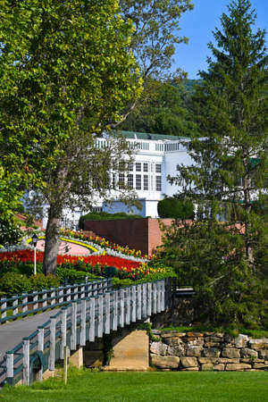 White Sulphur Springs, West Virginia / USA - August 8, 2018: The Greenbrier is a luxury resort located near White Sulphur Springs WV and is Home of the Greenbrier Classic PGA Tour FeDex Cup Event.
