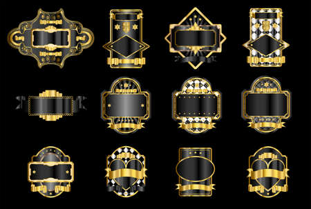 liquor: Black and gold decorative labels