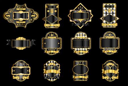 whiskey: Zwart en goud decoratieve etiketten Stock Illustratie