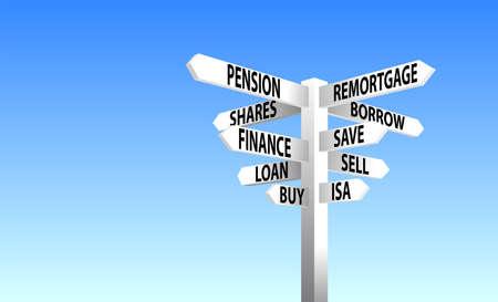 Finace-Wegweiser Vektorgrafik