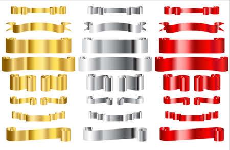 Cintas metálicas rojo, oro y plata Ilustración de vector
