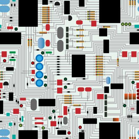 Transparente circuitos electrónicos patrón de repetición Ilustración de vector