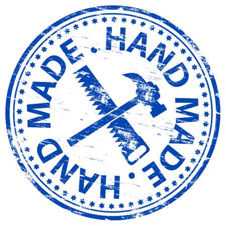 Met de HAND gemaakt van Rubber stempel Vector Illustratie