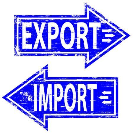 export and import: Sello de importaci�n exportaci�n