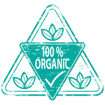 100% ORGANIC Rubber Stamp Stock Vector - 8774803