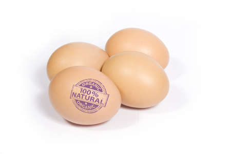 Eggs with 100% NATURAL stamp photo